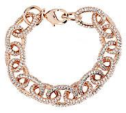 Bronze 7-1/4 Pave Crystal Oval Rolo Link Bracelet by Bronzo Italia - J291889