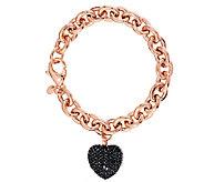 As Is Bronzo Italia 7-1/4 4.00 cttw Black Spinel Heart Bracelet - J292289