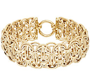 14K Gold 6-3/4 Bold Textured & Polished Mosaic Design Bracelet, 10.2g - J295289