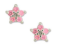 Disney Diamonique Sterling Princess Pink FlowerStud Earrings - J303389