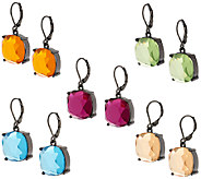 Joan Rivers Set of 5 Jeweled Cushion Cut Drop Earrings - J317589