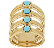 14K Gold Four Row Polished Sleeping Beauty Turquoise Ring - J319689