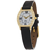 As Is Vicence 3/10 ct tw Diamond Tortue Dial Leather Strap Watch 14K - J323689