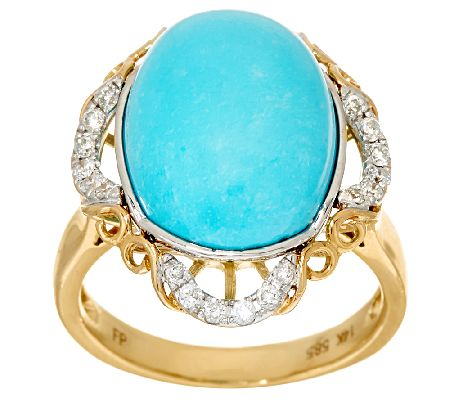 Sleeping Beauty Turquoise & Diamond Ring, 14K Gold