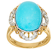 Sleeping Beauty Turquoise & Diamond Scroll Design Ring 14K Gold - J324289