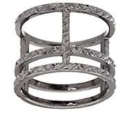 As Is VicenzaSilver Sterling Diamond Cut Triple Bar Ring - J325989