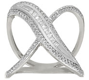 Baguette and Pave X-Design Diamond Ring, Sterling, 1/3 cttw, Affinity - J326089