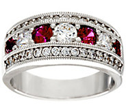 Diamonique & Simulated Gemstone Band Ring, Platinum Clad - J326389