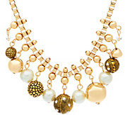 Susan Graver Simulated Pearl Statement Necklace - J326989
