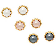 Joan Rivers Set/3 Clip or Pierced Faux Pearl Earrings w/ Rope Border - J327789