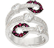 Judith Ripka Sterling Silver Ruby Heart 0.30 cttw Wrap Ring - J328689