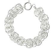 Sterling Silver Rosetta Fancy Woven 7-1/4 Bracelet, 18.1g by Silver Style - J329289