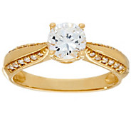 As Is Diamonique 1.00 ct Solitaire Ring, 14K Gold - J331389