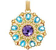 Arte d Oro 30.00 cttw Multi-gemstone Round Pendant 18K Gold 9.50g - J331589
