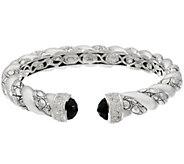 JAI Sterling Black Onyx Croco Texture Hinged Bracelet - J332789