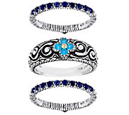 Barbara Bixby Sterling & 18K Set of Three Stack Rings - J334189