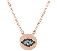 Bronze Gemstone or Crystal Evil Eye Necklace byBronzo Italia - J337789