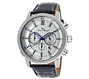 Lucien Piccard Monte Viso Mens Chrono Navy Leather Watch - J339089
