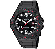 Casio Mens Black and Red-Accented Analog SportWatch - J339289