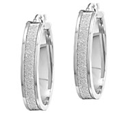 1-1/4 Glitter Oval Hoop Earrings, 14K Gold - J339589