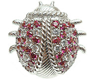 Judith Ripka Sterling Diamonique Ladybug Pin - J340189