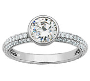 Diamonique Sterling Bezel-Set Round Solitaire S tack Ring - J340789