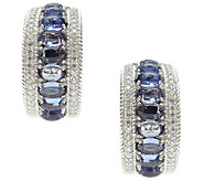 Judith Ripka Sterling w/ Tanzanite & Diamonique Hoop Earrings - J340989