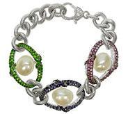Judith Ripka Sterling 5.00 cttw Gemstone SmallBracelet - J342489