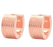 Stainless Steel Lords Prayer Huggie Hoop Earrings - J343589