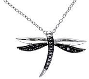 Black Diamond Accent Dragonfly Pendant w/ Chain - J343889