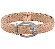 Sterling Crystal Buckle Woven Flexible Cuff - J344289