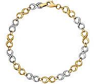 14K Two-Tone Infinity 7-1/4 Bracelet, 2.8g - J345189