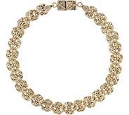 Click Secure 7-1/4 Rosette Link Bracelet 14K Gold 3.2g - J345689