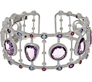 Judith Ripka Sterling 17.00 cttw Multi Gemstone Cuff Bracelet - J348089