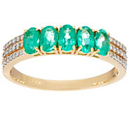 5-Stone Colombian Emerald & Diamond Band Ring, 14K - J348589