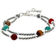 Multi Gemstone Bead & Sterling Double Row Bracelet by American West - J350089