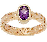 14K Gold Byzantine and Gemstone Band Ring - J350889