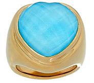 As Is 14K Gold Sleeping Beauty_Turq. Doublet Heart Ring - J351789