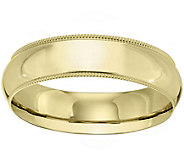 Womens 14K Yellow Gold 6mm Milgrain Wedding Band - J375589