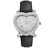 Peugeot Womens Stainless Heart-Shaped CrystalLeather Watch - J383889