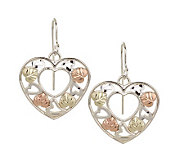 Black Hills Heart Dangle Earrings, Sterling/12K Gold - J110790
