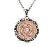 Suspicion Sterling Marcasite & Pink Shell RosePendant w/Chain - J112490