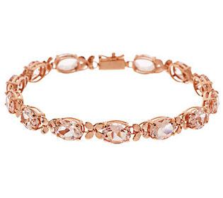 """Premier Oval Morganite & Floral Design 8"""" Tennis Bracelet, 14K"""