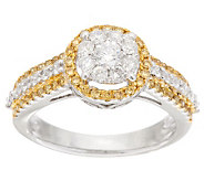 White & Yellow Halo Diamond Ring, 14K Gold 1.00 cttw, by Affinity - J282590