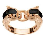 As Is Bronzo Italia Interlocking Panther Head Enamel Ring - J292190