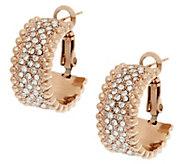 Stainless Steel Pave Crystal Omega Back Hoop Earrings - J292790