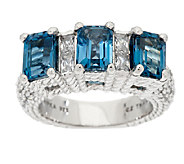Judith Ripka Sterling 3.70 Cttw London Blue Topaz & Diamonique Ring - J294490