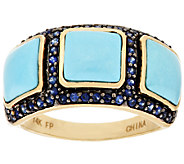Sleeping Beauty Turquoise & 0.30 cttw Blue Sapphire Inlay Ring, 14K Gold - J295490