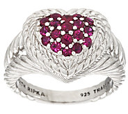 Judith Ripka Sterling 0.60 ct tw Pave Ruby Heart Ring - J295590