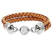 As Is Steel by Design Double Row Leather Bracelet - J295690
